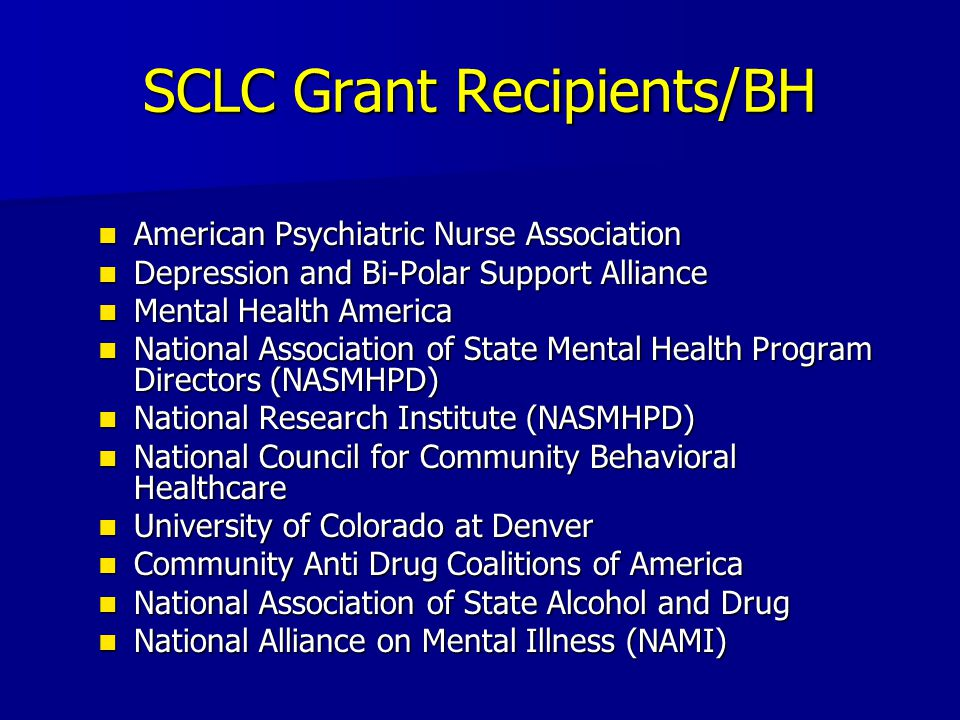 SCLC Grant Recipients/BH American Psychiatric Nurse Association American Psychiatric Nurse Association Depression and Bi-Polar Support Alliance Depression and Bi-Polar Support Alliance Mental Health America Mental Health America National Association of State Mental Health Program Directors (NASMHPD) National Association of State Mental Health Program Directors (NASMHPD) National Research Institute (NASMHPD) National Research Institute (NASMHPD) National Council for Community Behavioral Healthcare National Council for Community Behavioral Healthcare University of Colorado at Denver University of Colorado at Denver Community Anti Drug Coalitions of America Community Anti Drug Coalitions of America National Association of State Alcohol and Drug National Association of State Alcohol and Drug National Alliance on Mental Illness (NAMI) National Alliance on Mental Illness (NAMI)