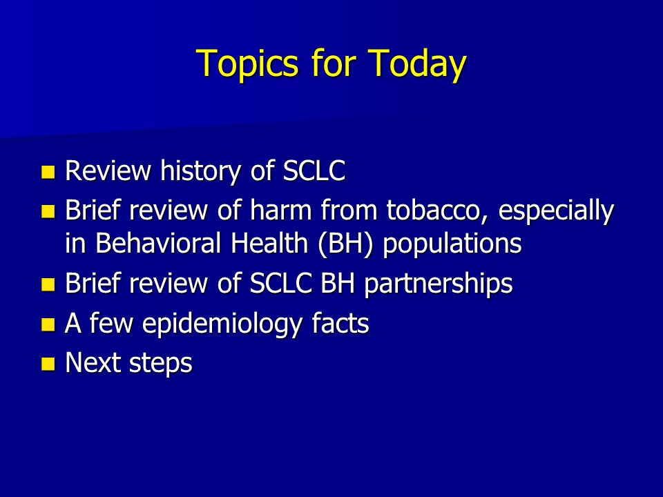 SCLC Enters Behavioral Health Cautiously