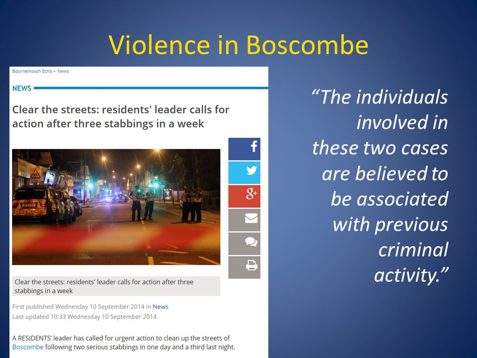 Violence in Boscombe The individuals involved in these two cases are believed to be associated with previous criminal activity.
