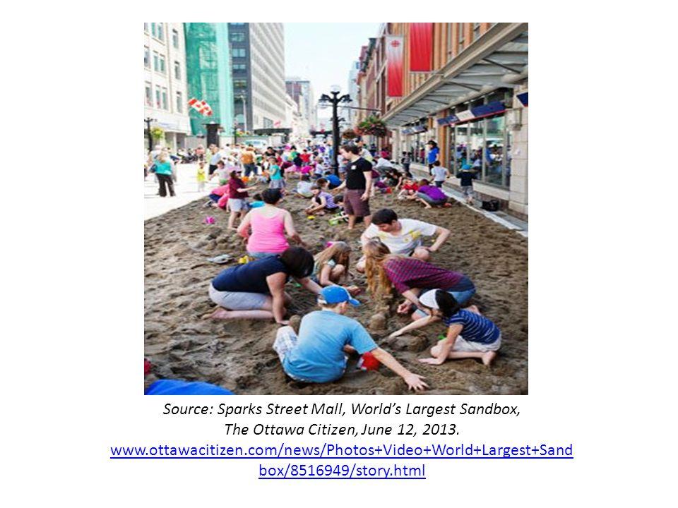 Source: Sparks Street Mall, World's Largest Sandbox, The Ottawa Citizen, June 12, 2013. www.ottawacitizen.com/news/Photos+Video+World+Largest+Sand box