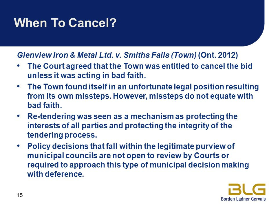 When To Cancel.Glenview Iron & Metal Ltd. v. Smiths Falls (Town) (Ont.