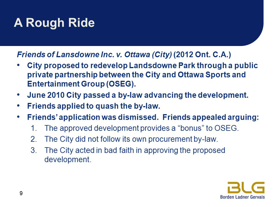 A Rough Ride Friends of Lansdowne Inc.v. Ottawa (City) (2012 Ont.