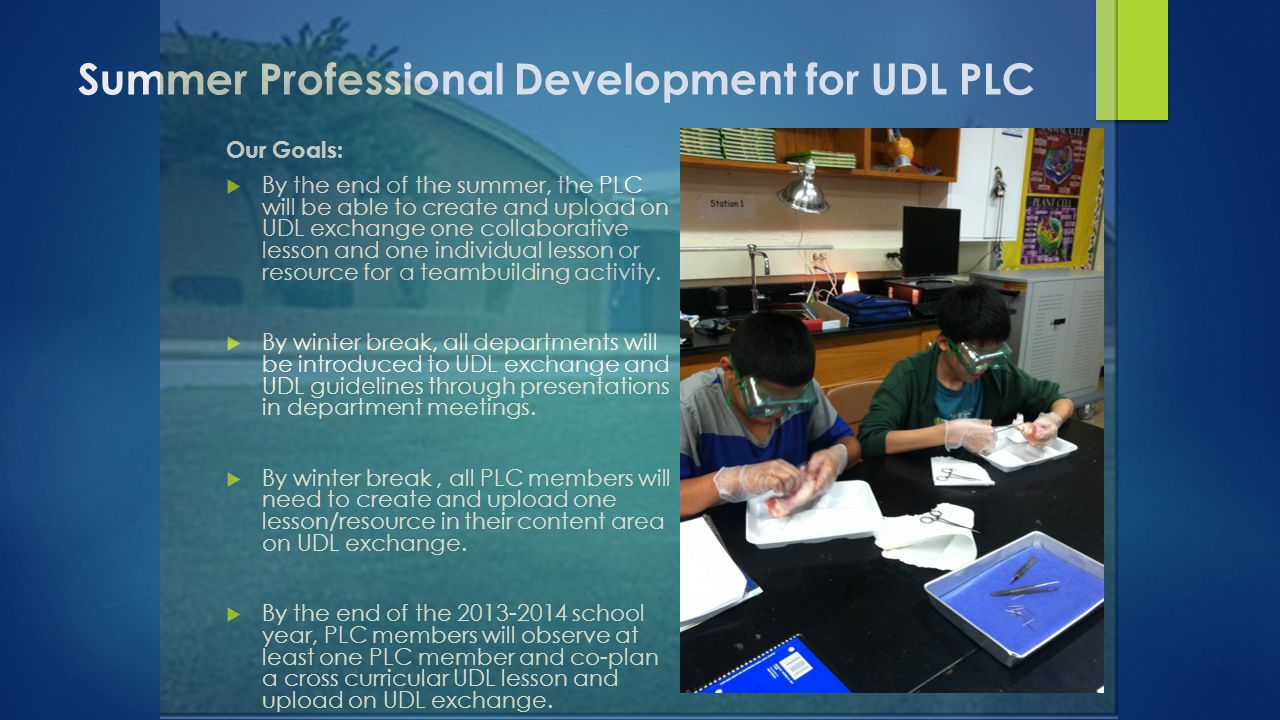 Summer Professional Development for UDL PLC Our Goals:  By the end of the summer, the PLC will be able to create and upload on UDL exchange one colla