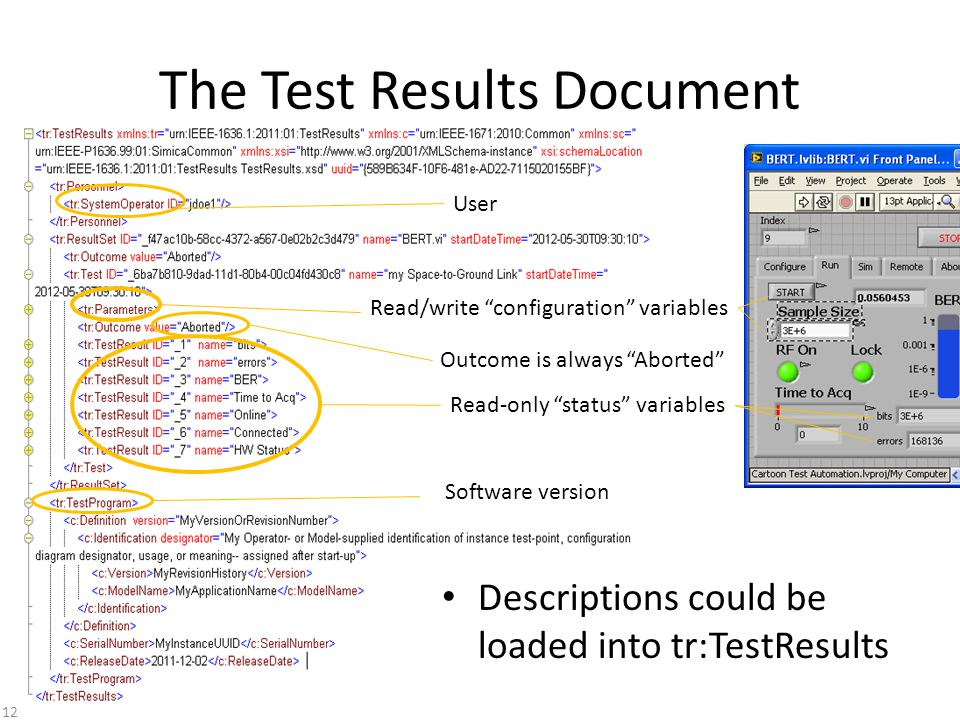 The Test Results Document Read-only status variables Read/write configuration variables Outcome is always Aborted User Software version Descriptions could be loaded into tr:TestResults 12