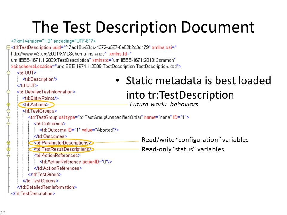 The Test Description Document Read-only status variables Read/write configuration variables Static metadata is best loaded into tr:TestDescription Future work: behaviors 13