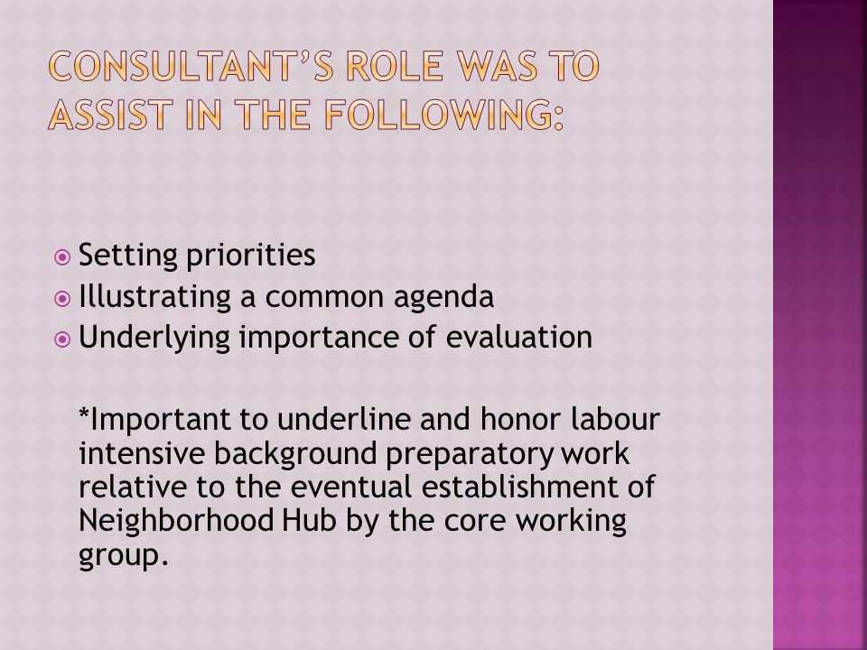  Setting priorities  Illustrating a common agenda  Underlying importance of evaluation *Important to underline and honor labour intensive background preparatory work relative to the eventual establishment of Neighborhood Hub by the core working group.