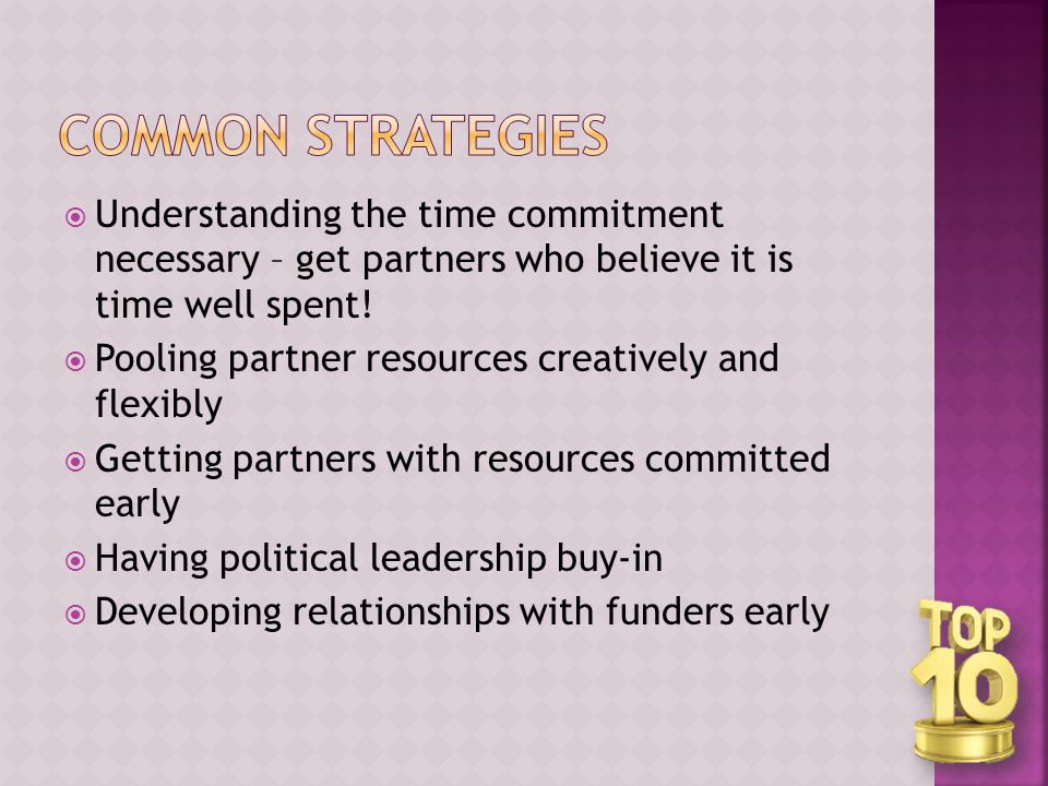  Understanding the time commitment necessary – get partners who believe it is time well spent.