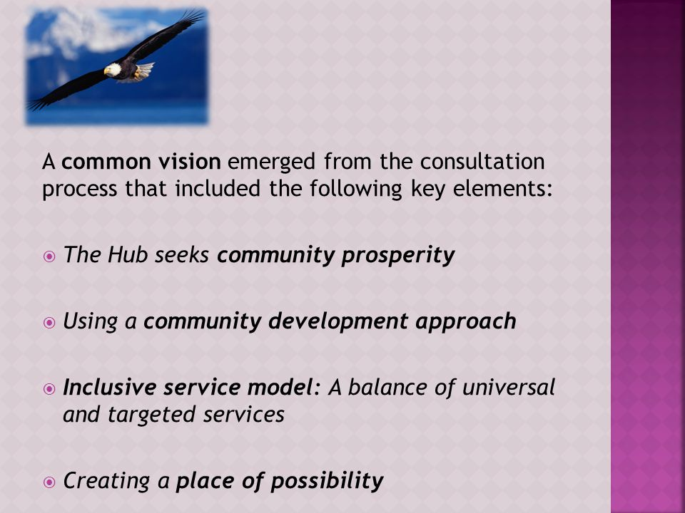 A common vision emerged from the consultation process that included the following key elements:  The Hub seeks community prosperity  Using a community development approach  Inclusive service model: A balance of universal and targeted services  Creating a place of possibility