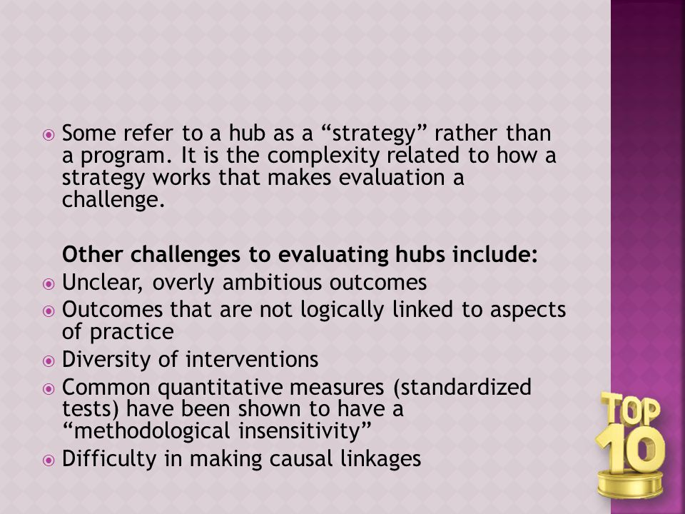  Some refer to a hub as a strategy rather than a program.