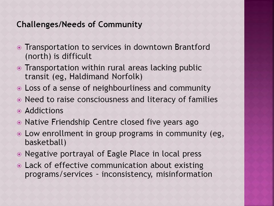 Challenges/Needs of Community  Transportation to services in downtown Brantford (north) is difficult  Transportation within rural areas lacking public transit (eg, Haldimand Norfolk)  Loss of a sense of neighbourliness and community  Need to raise consciousness and literacy of families  Addictions  Native Friendship Centre closed five years ago  Low enrollment in group programs in community (eg, basketball)  Negative portrayal of Eagle Place in local press  Lack of effective communication about existing programs/services – inconsistency, misinformation