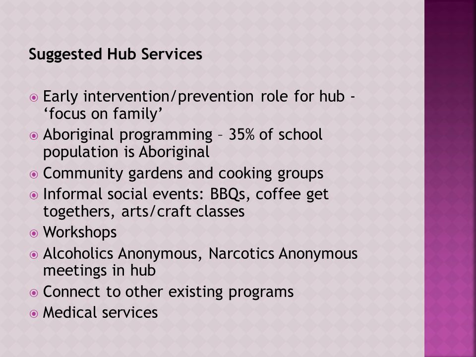 Suggested Hub Services  Early intervention/prevention role for hub - 'focus on family'  Aboriginal programming – 35% of school population is Aboriginal  Community gardens and cooking groups  Informal social events: BBQs, coffee get togethers, arts/craft classes  Workshops  Alcoholics Anonymous, Narcotics Anonymous meetings in hub  Connect to other existing programs  Medical services