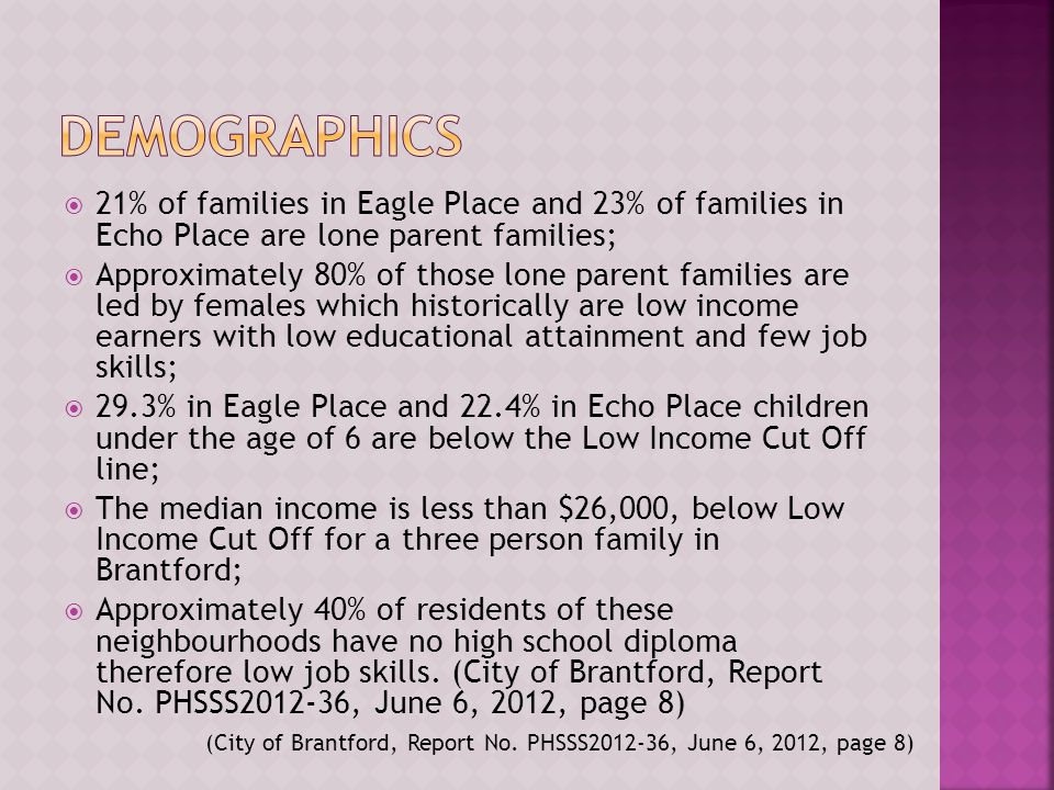  21% of families in Eagle Place and 23% of families in Echo Place are lone parent families;  Approximately 80% of those lone parent families are led by females which historically are low income earners with low educational attainment and few job skills;  29.3% in Eagle Place and 22.4% in Echo Place children under the age of 6 are below the Low Income Cut Off line;  The median income is less than $26,000, below Low Income Cut Off for a three person family in Brantford;  Approximately 40% of residents of these neighbourhoods have no high school diploma therefore low job skills.