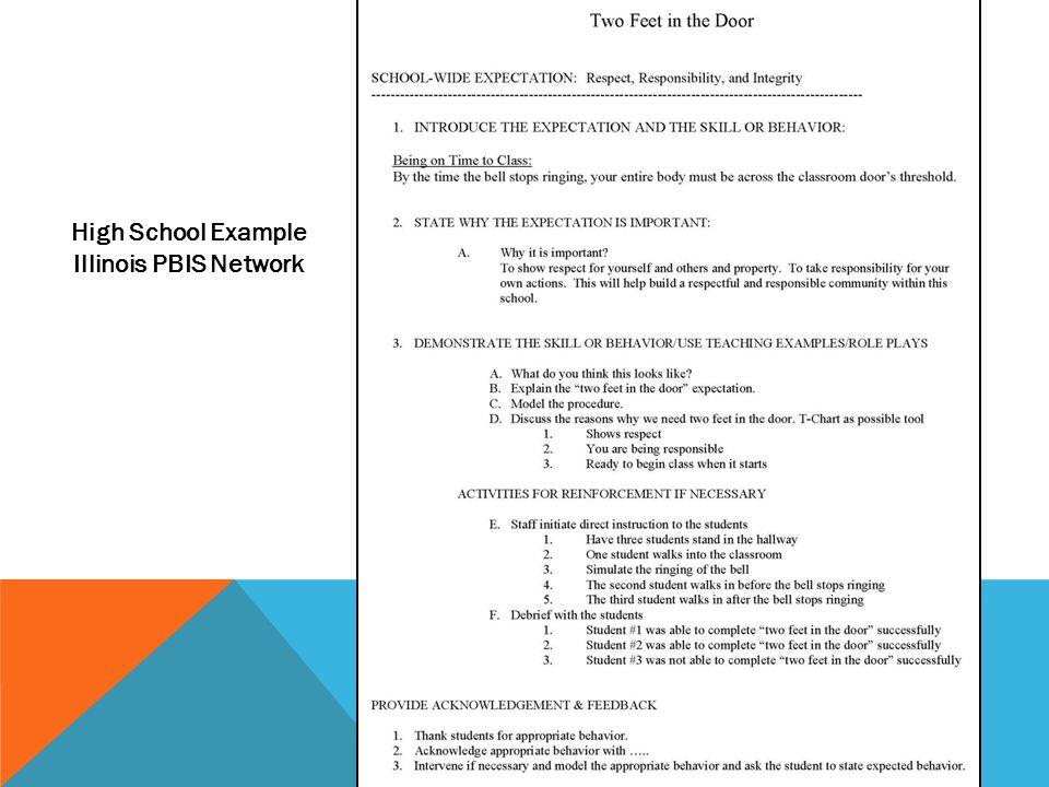 High School Example Illinois PBIS Network