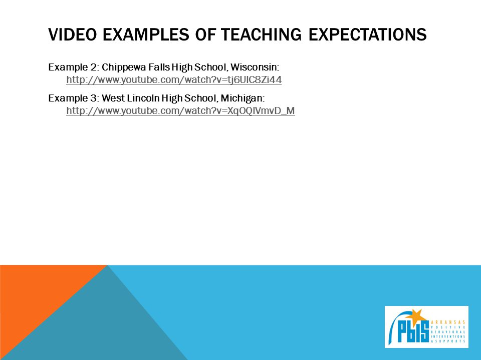 VIDEO EXAMPLES OF TEACHING EXPECTATIONS Example 2: Chippewa Falls High School, Wisconsin: http://www.youtube.com/watch?v=tj6UlC8Zi44 http://www.youtube.com/watch?v=tj6UlC8Zi44 Example 3: West Lincoln High School, Michigan: http://www.youtube.com/watch?v=XqOQlVmvD_M http://www.youtube.com/watch?v=XqOQlVmvD_M