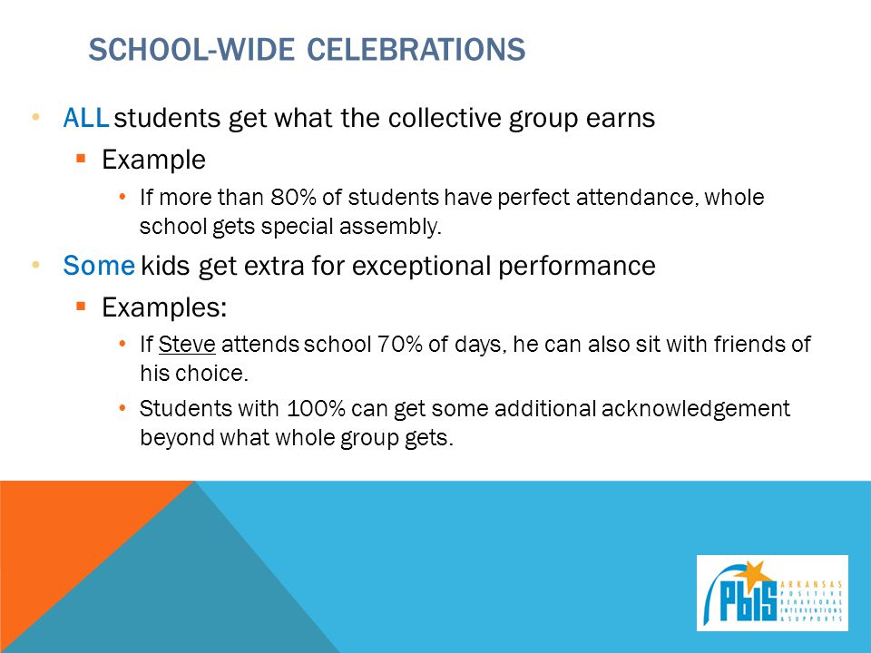 SCHOOL-WIDE CELEBRATIONS ALL students get what the collective group earns  Example If more than 80% of students have perfect attendance, whole school gets special assembly.