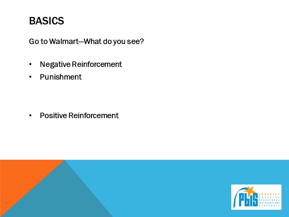 BASICS Go to Walmart—What do you see? Negative Reinforcement Punishment Positive Reinforcement