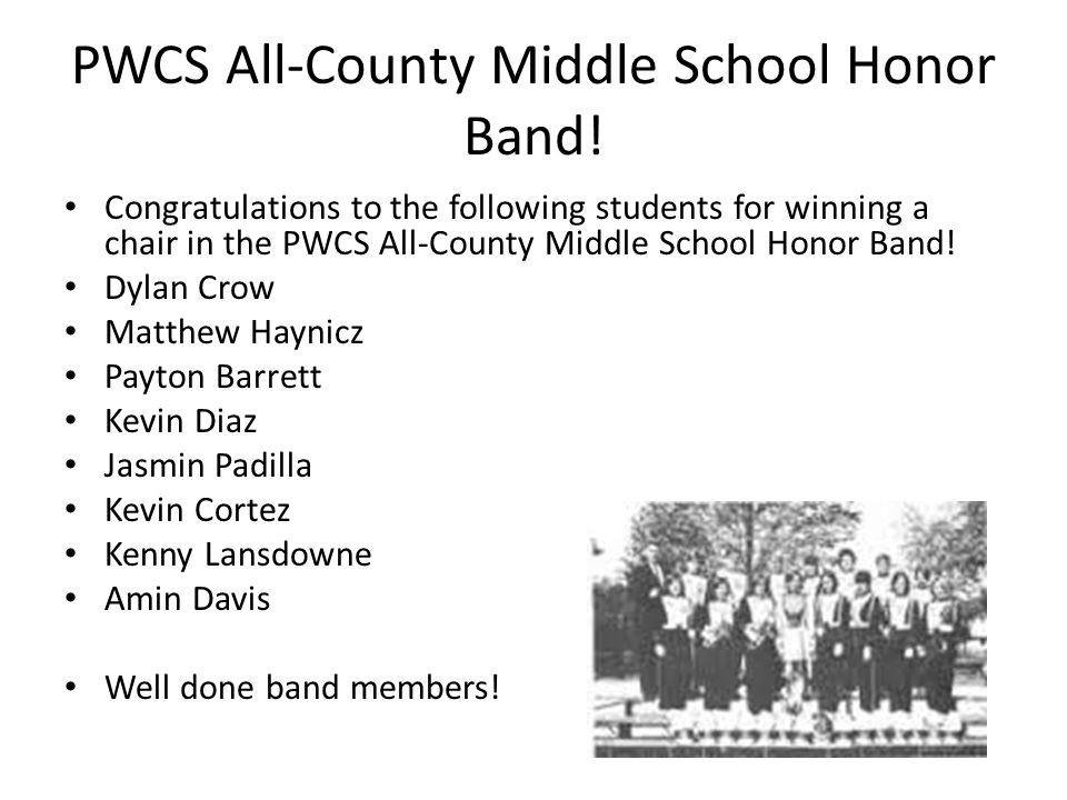 PWCS All-County Middle School Honor Band.