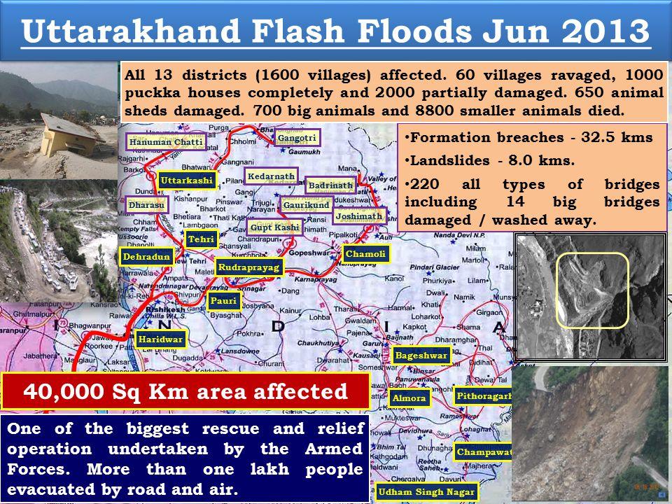 Uttarkashi Kedarnath Badrinath Chamoli Gangotri Gaurikund Bageshwar Pithoragarh Rudraprayag Champawat Meerut Pauri Nainital Tehri Haridwar Almora Udham Singh Nagar Joshimath Gupt Kashi Muzaffarnagar Formation breaches - 32.5 kms Landslides - 8.0 kms.