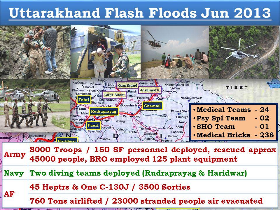 Uttarkashi Kedarnath Badrinath Chamoli Dehradun Gangotri Gaurikund Bageshwar Pithoragarh Rudraprayag Champawat Meerut Pauri Nainital Tehri Haridwar Almora Udham Singh Nagar Joshimath Gupt Kashi Dharasu Hanuman Chatti Muzaffarnagar Ranikhet Lansdowne Uttarakhand Flash Floods Jun 2013 Dharchula Medical Teams - 24 Psy Spl Team - 02 SHO Team - 01 Medical Bricks - 238