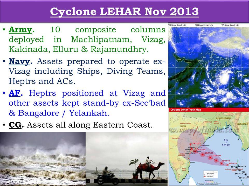 Army. 10 composite columns deployed in Machlipatnam, Vizag, Kakinada, Elluru & Rajamundhry.