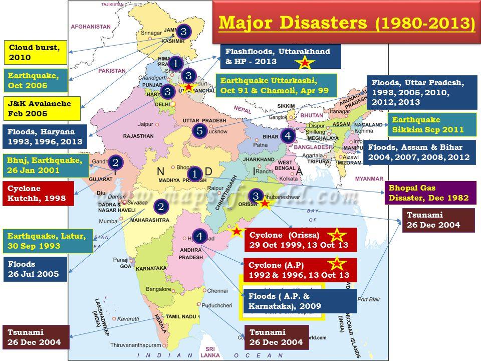 Floods 26 Jul 2005 Tsunami 26 Dec 2004 Floods, Assam & Bihar 2004, 2007, 2008, 2012 Earthquake Uttarkashi, Oct 91 & Chamoli, Apr 99 Bhuj, Earthquake, 26 Jan 2001 J&K Avalanche Feb 2005 Earthquake, Latur, 30 Sep 1993 Tsunami 26 Dec 2004 Bhopal Gas Disaster, Dec 1982 Earthquake, Oct 2005 Floods ( A.P.