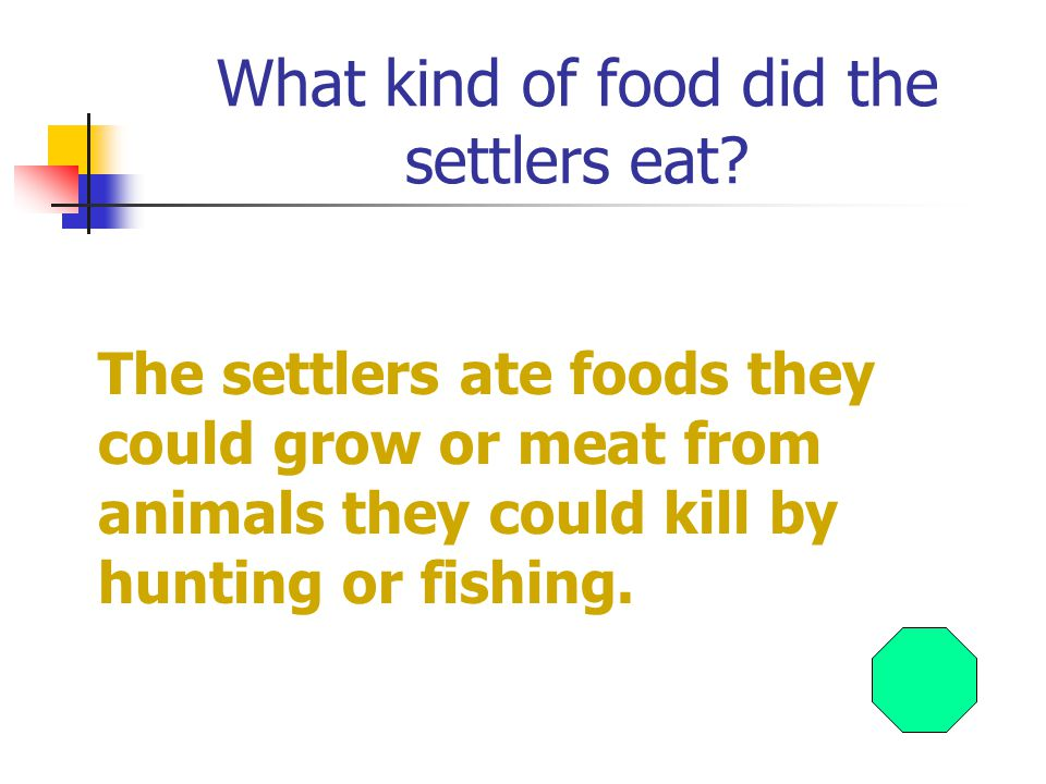 What kind of food did the settlers eat.