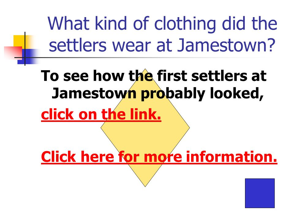 What kind of clothing did the settlers wear at Jamestown.