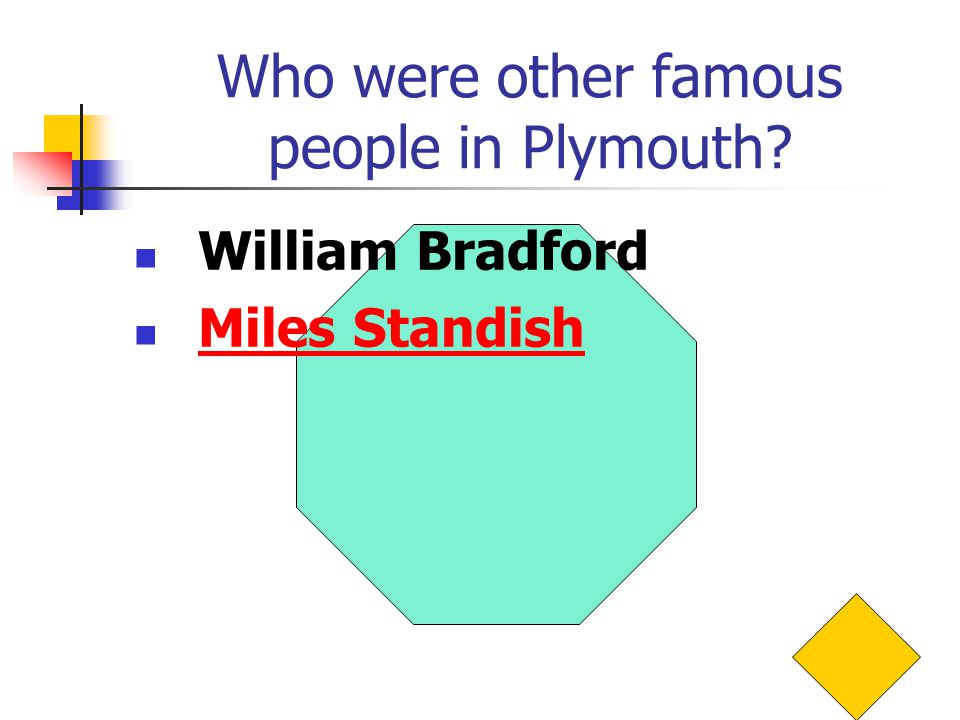Who were other famous people in Plymouth William Bradford Miles Standish