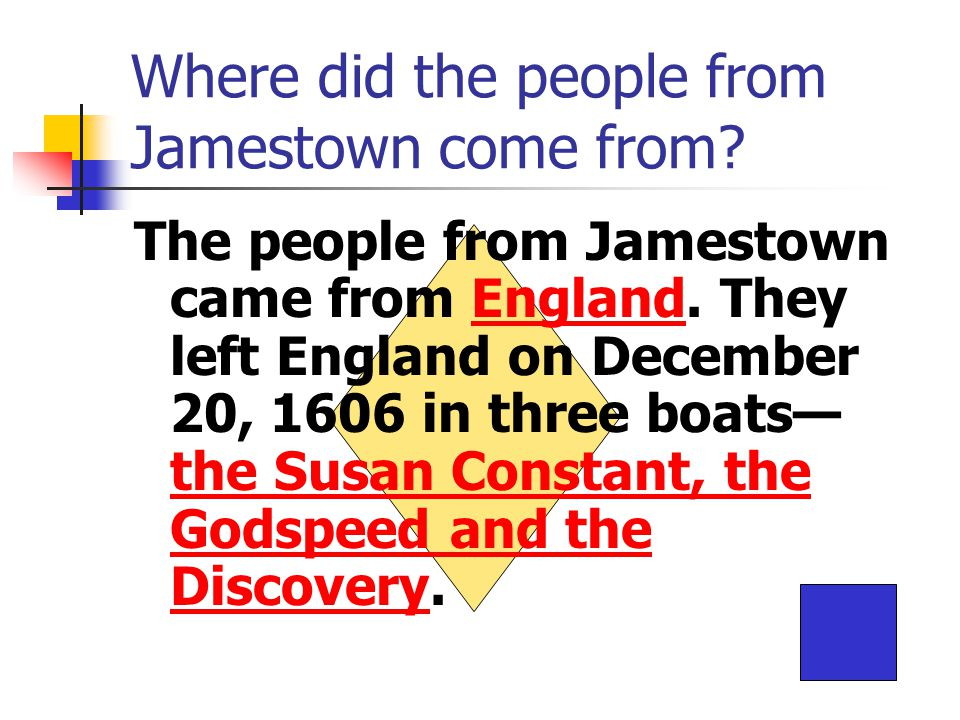 Where did the people from Jamestown come from. The people from Jamestown came from England.