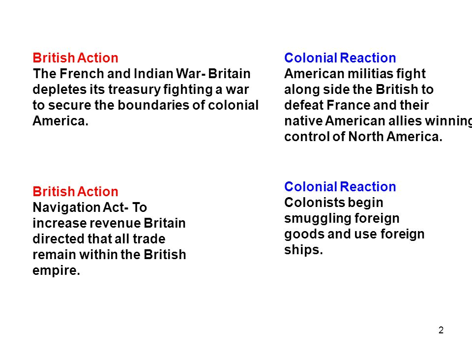 2 British Action Navigation Act- To increase revenue Britain directed that all trade remain within the British empire. Colonial Reaction Colonists beg