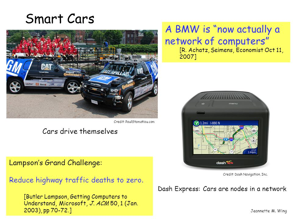 "2CPS SummitJeannette M. Wing Smart Cars A BMW is ""now actually a network of computers"" [R. Achatz, Seimens, Economist Oct 11, 2007] Lampson's Grand Ch"