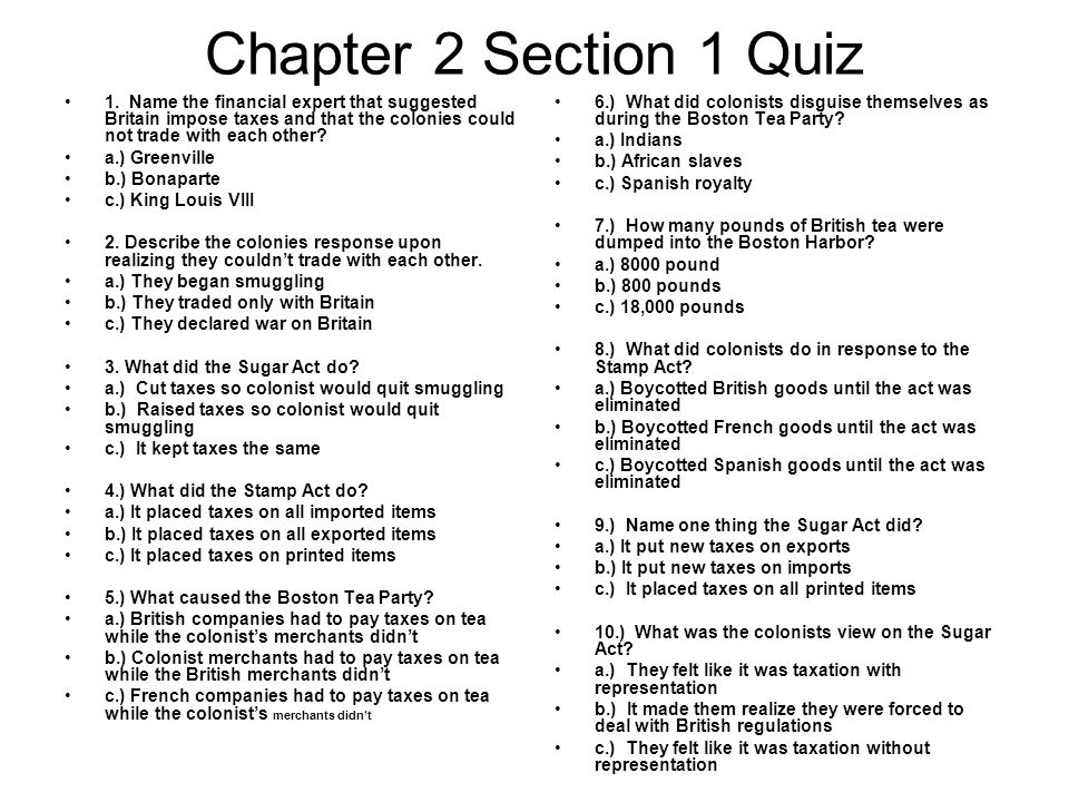 Chapter 2 Section 1 Quiz 1.