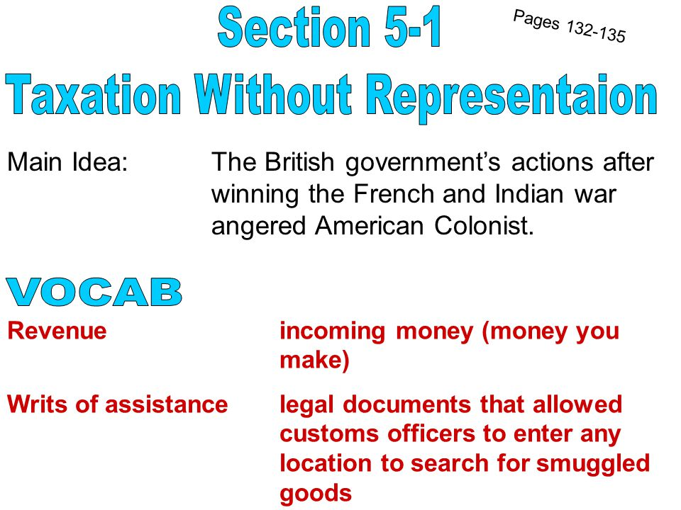 Main Idea: The British government's actions after winning the French and Indian war angered American Colonist.