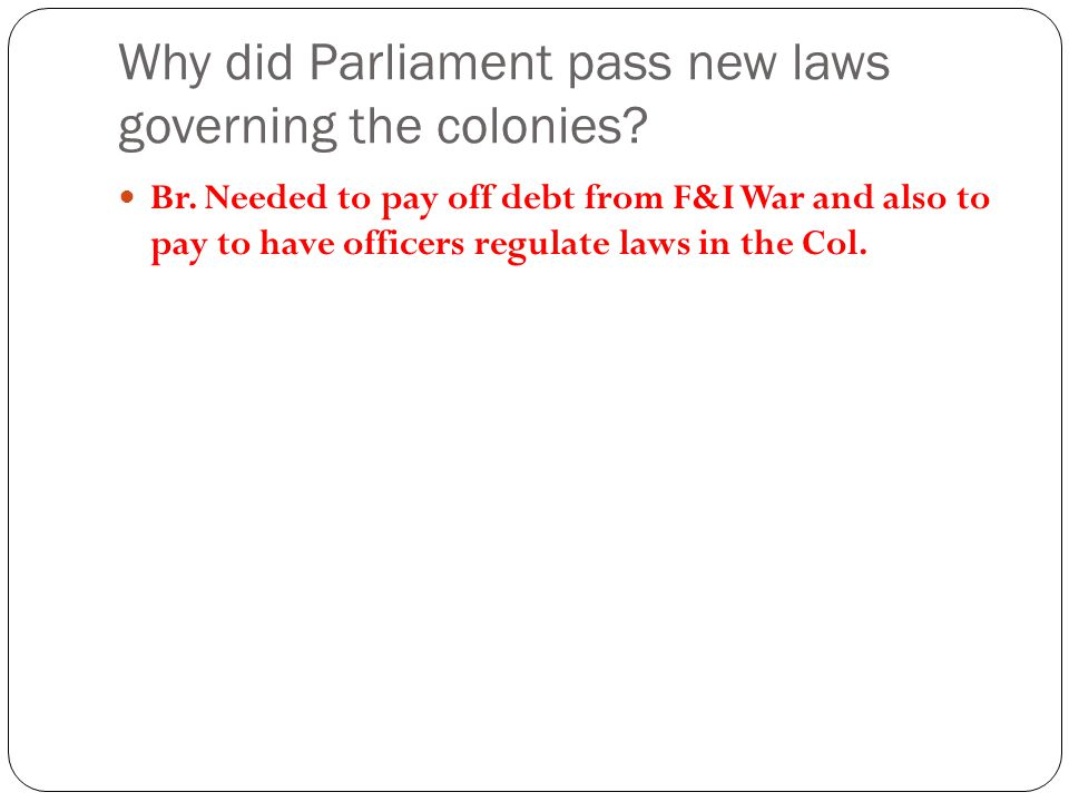 Why did Parliament pass new laws governing the colonies.