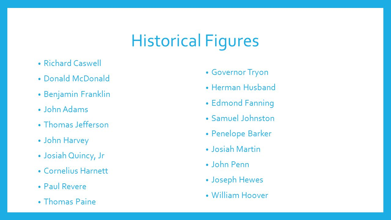 Historical Figures Richard Caswell Donald McDonald Benjamin Franklin John Adams Thomas Jefferson John Harvey Josiah Quincy, Jr Cornelius Harnett Paul Revere Thomas Paine Governor Tryon Herman Husband Edmond Fanning Samuel Johnston Penelope Barker Josiah Martin John Penn Joseph Hewes William Hoover