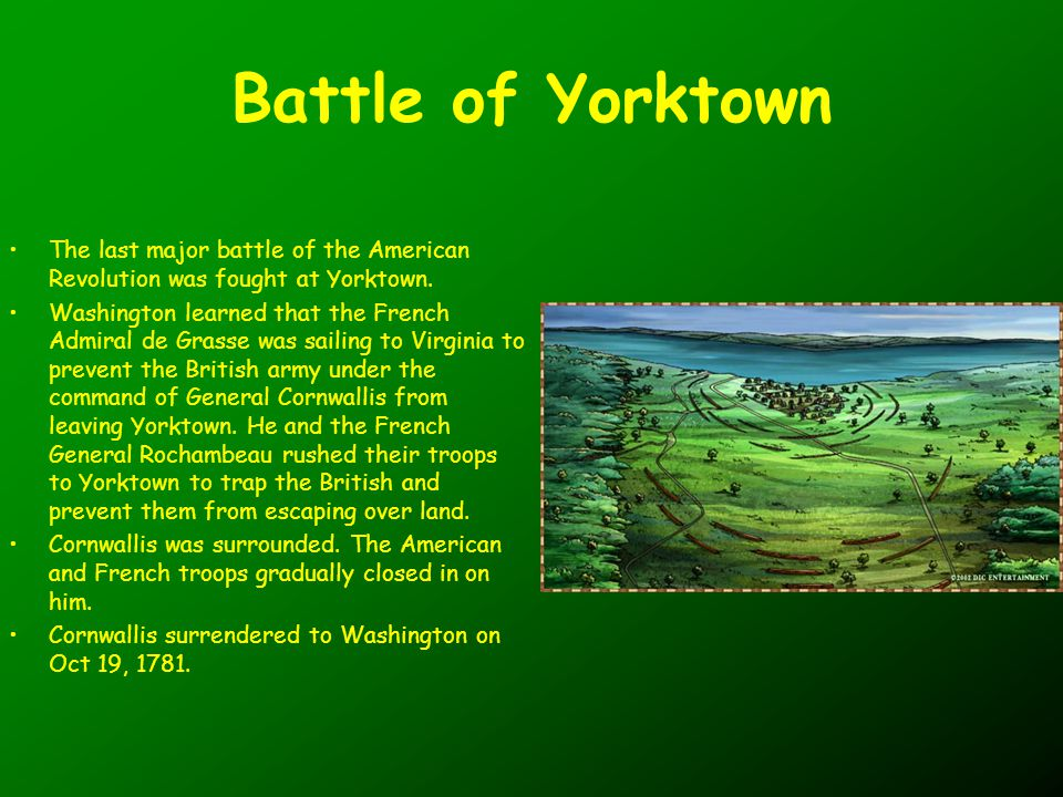 Battle of Yorktown The last major battle of the American Revolution was fought at Yorktown.