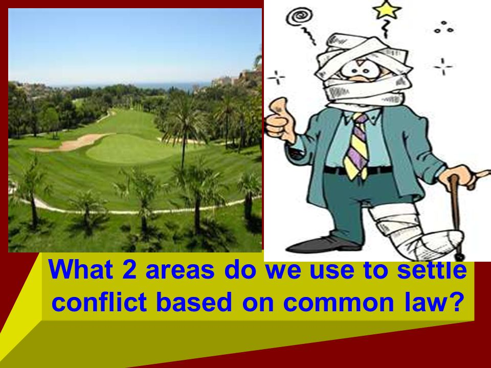 What 2 areas do we use to settle conflict based on common law?