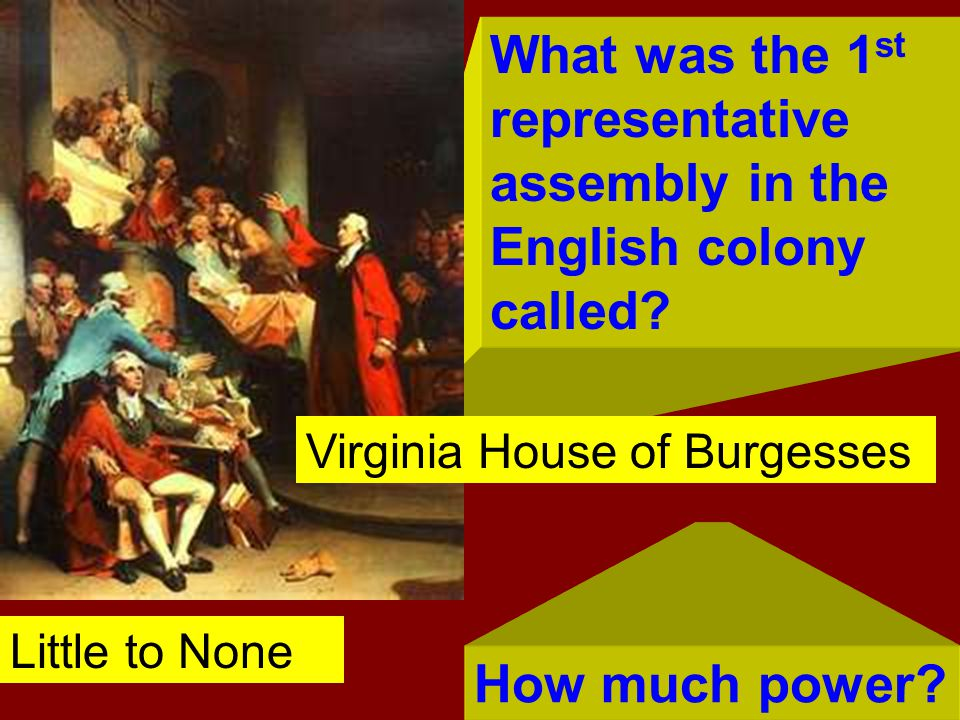 What was the 1 st representative assembly in the English colony called? How much power? Virginia House of Burgesses Little to None