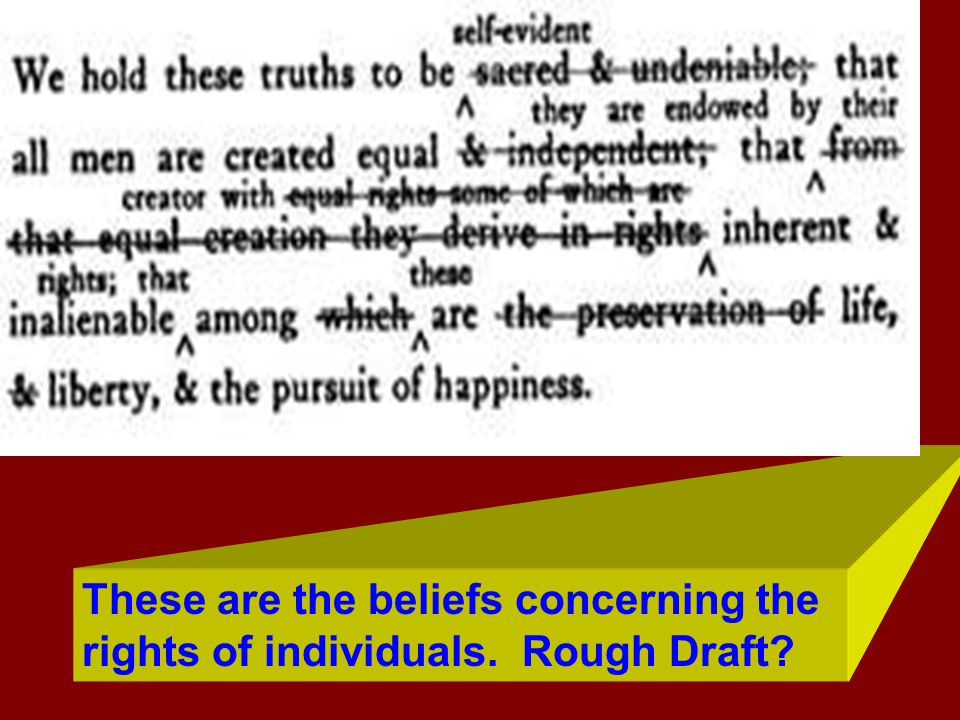 These are the beliefs concerning the rights of individuals. Rough Draft?