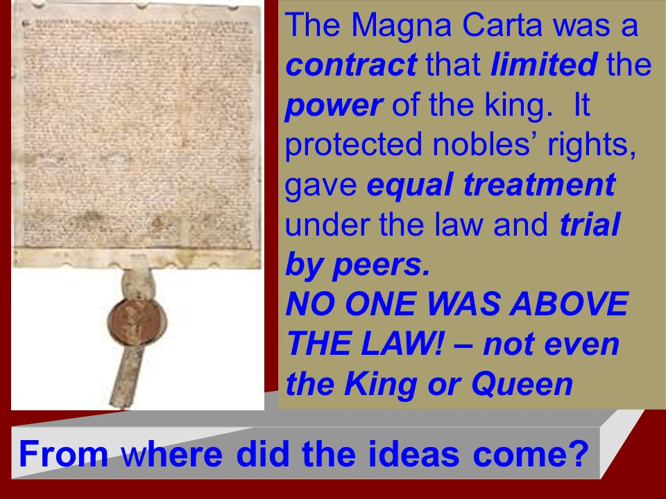 From where did the ideas come? The Magna Carta was a contract that limited the power of the king. It protected nobles' rights, gave equal treatment un