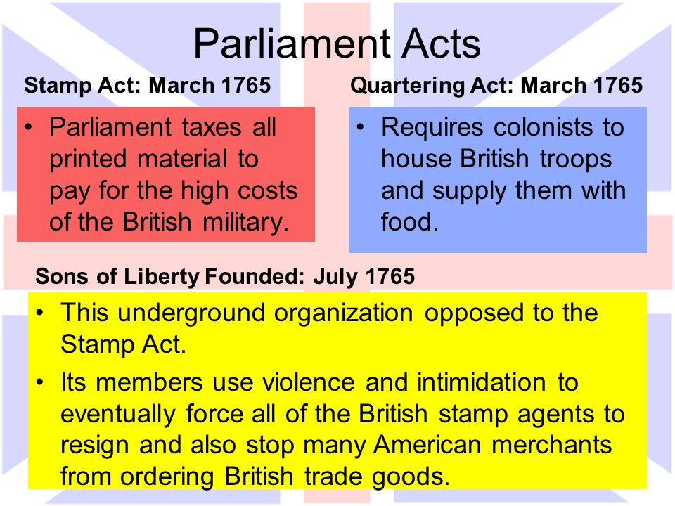 Parliament Acts Parliament taxes all printed material to pay for the high costs of the British military. Requires colonists to house British troops an