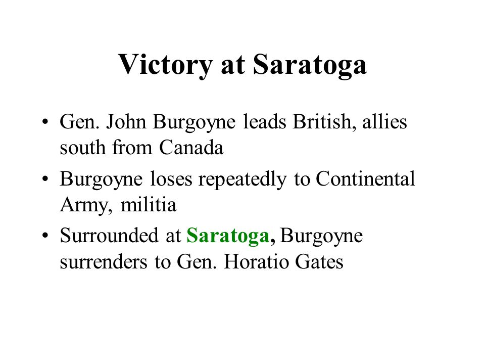 Victory at Saratoga Gen.