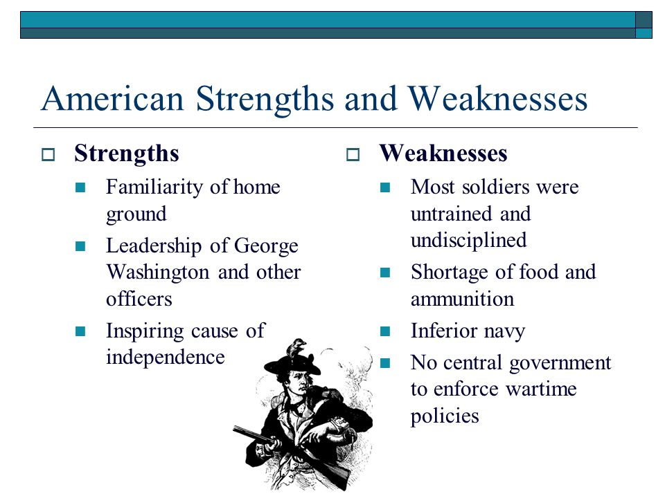 British Strengths and Weaknesses  Strengths Strong, well trained army and navy Strong central government with available funds Support from colonial Loyalists and Native Americans  Weaknesses Large distance separating Britain from battlefields Troops unfamiliar with terrain Weak military leaders Sympathy of certain British politicians for the American cause