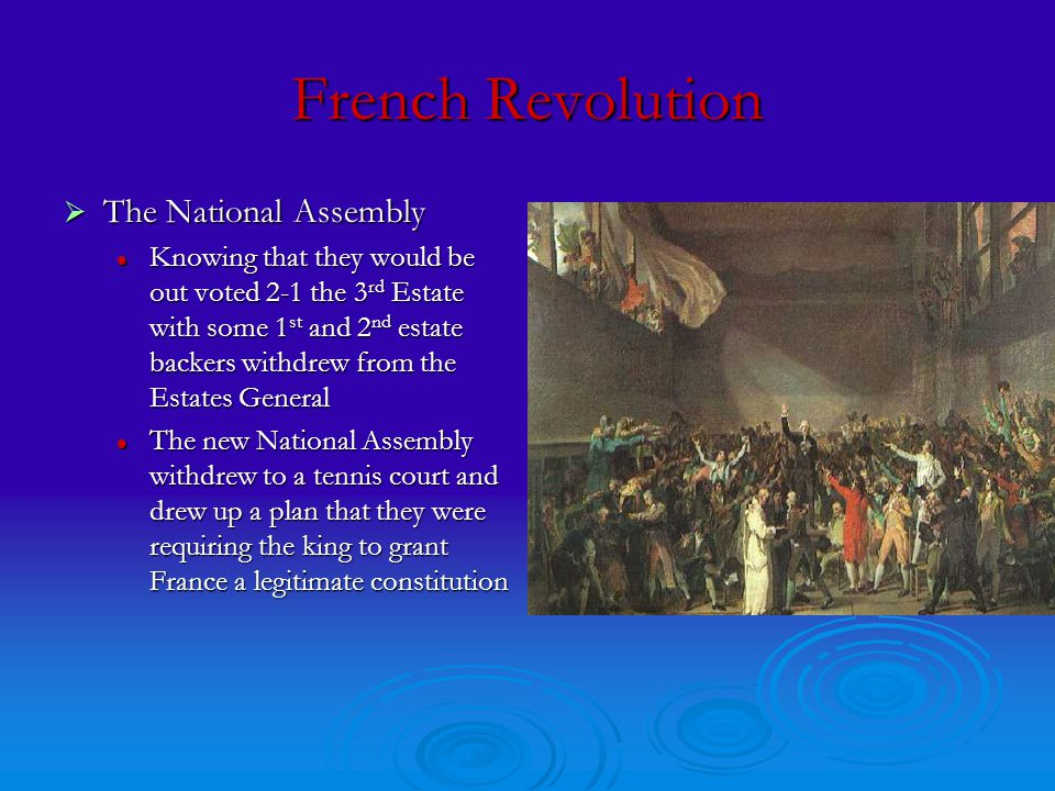 French Revolution  The National Assembly Knowing that they would be out voted 2-1 the 3 rd Estate with some 1 st and 2 nd estate backers withdrew from the Estates General Knowing that they would be out voted 2-1 the 3 rd Estate with some 1 st and 2 nd estate backers withdrew from the Estates General The new National Assembly withdrew to a tennis court and drew up a plan that they were requiring the king to grant France a legitimate constitution The new National Assembly withdrew to a tennis court and drew up a plan that they were requiring the king to grant France a legitimate constitution