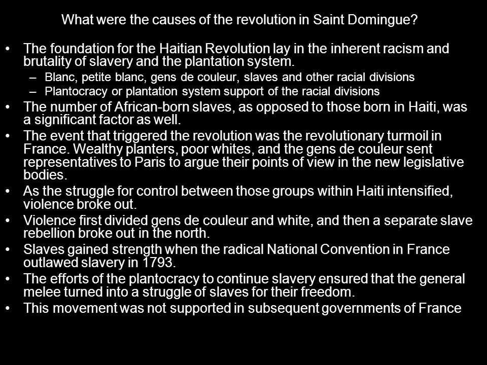 What were the causes of the revolution in Saint Domingue.