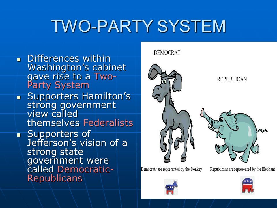 TWO-PARTY SYSTEM Differences within Washington's cabinet gave rise to a Two- Party System Differences within Washington's cabinet gave rise to a Two-