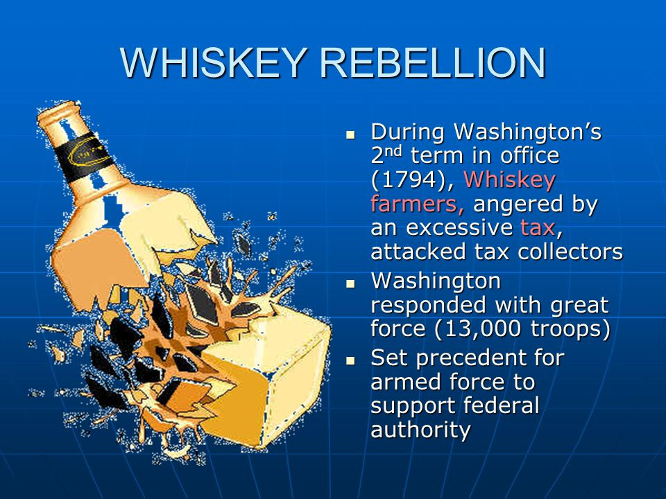 WHISKEY REBELLION During Washington's 2 nd term in office (1794), Whiskey farmers, angered by an excessive tax, attacked tax collectors During Washing