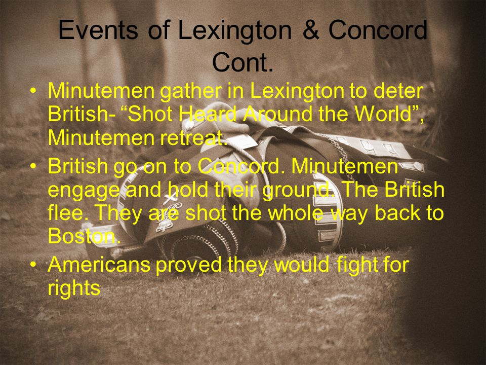 Events of Lexington & Concord Cont.