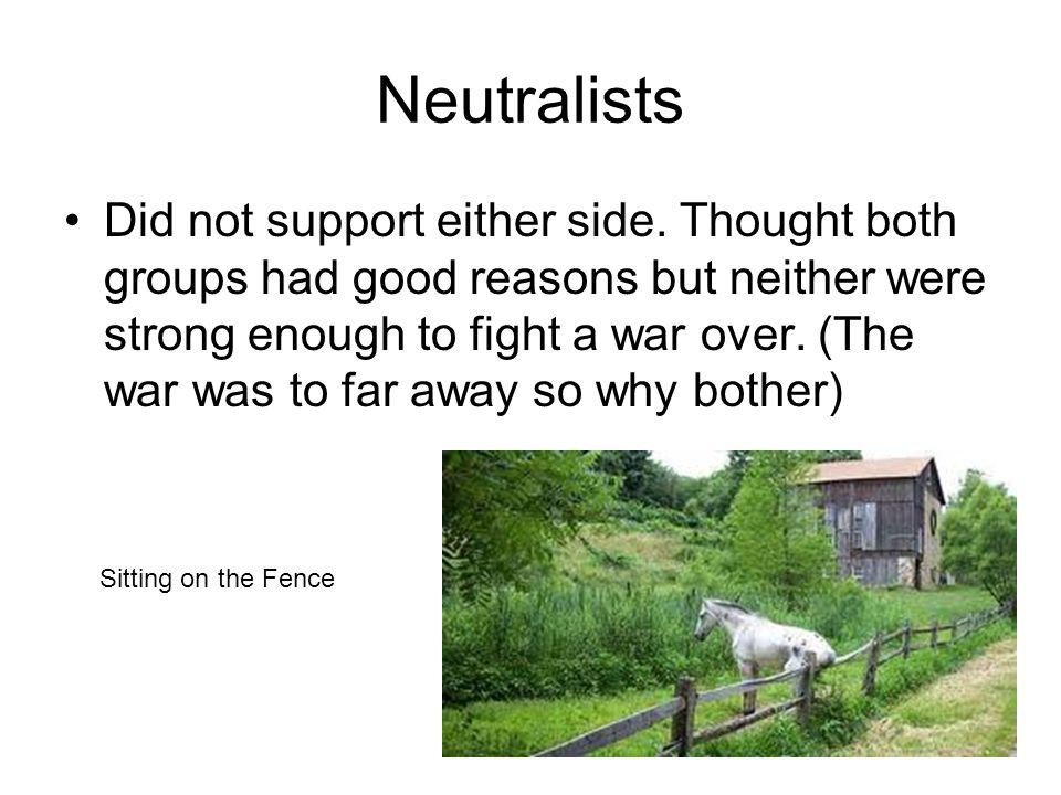 Neutralists Did not support either side.