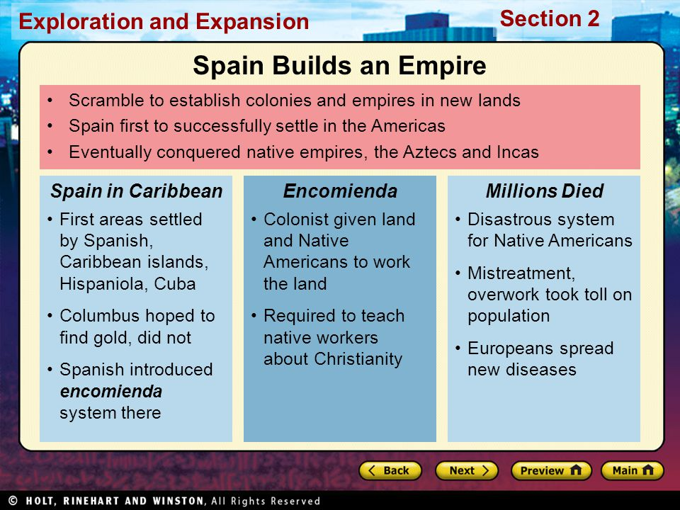 Exploration and Expansion Section 2 Scramble to establish colonies and empires in new lands Spain first to successfully settle in the Americas Eventua